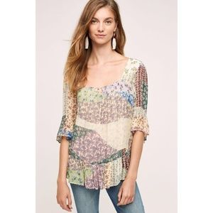 Anthropologie Floreat Patchwork Floral Beaded Top